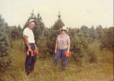 Bob Trax Senior and Doris Trax marking Christmas trees - 1981