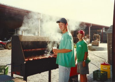 Strawberry Festival 1996, Ross and Carl cooking hot dogs
