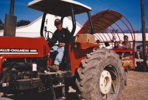 Ross Trax giving a hayride 1999